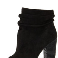 Chinese Laundry Laurel Black Kid Suede Peep Toe Booties