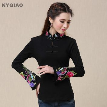 KYQIAO Traditional Chinese clothing women pullover female autumn m-4xl vintage ethnic mandarin collar embroidery cotton t shirt