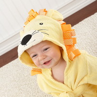 "Baby Aspen BA14011NA ""Big Top Bath Time"" Lion Hooded Spa Robe"
