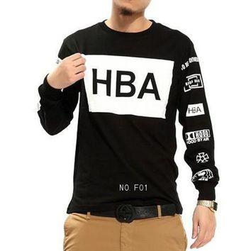 ONETOW mens fashion clothing Hood by air hba x been trill kanye west long sleeve neack hip hop Sweatershirt