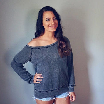 Hand Studded Off the Shoulder Acid Wash Gray Sweatshirt with Black Cone Studs