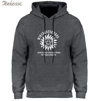 Supernatural Hoodie Men Winchester Bros Saving People Things Hoodies Mens 2018 Winter Autumn Print Gray Blue Hooded Sweatshirt