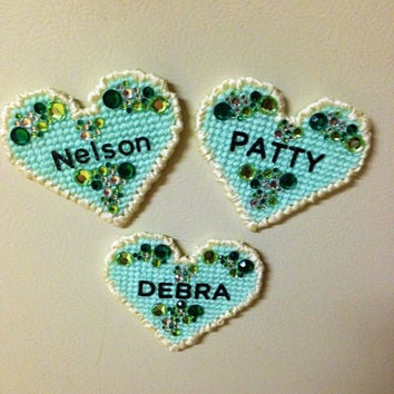 Plastic Canvas Heart Magnets with names