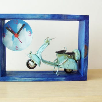 Blue Vespa clock , royal blue frame wooden clock for wall or desk with a sky blue Vespa scooter miniature, collectible Vespa clock