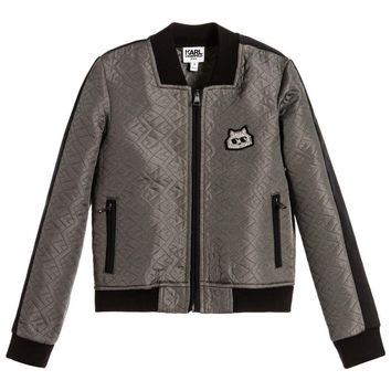 Karl Lagerfeld Girls Grey Textured Choupette Jacket