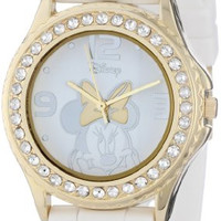 Disney Women's MN1053 Rhinestone Accent Minnie Mouse White Rubber Strap Watch