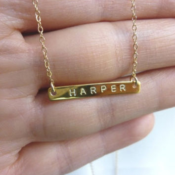 gold initial bar necklacegold bar initial by MomentusNY on Etsy