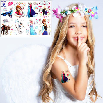 Ice Princess Anna Elsa Child Love Temporary Body Art Toys Flash Tattoo Sticker 17*10cm Birthday Xmas Baby Shower Party Gift