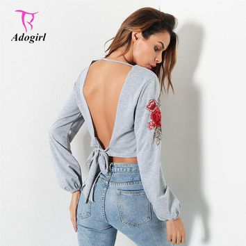 Adogirl 2017 Autumn Women Sexy Backless Hoodies Floral Embroidery Open Back Lacing Up Casual Long Sleeves Crop Tops Sweatshirt