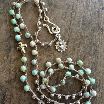 "Crochet Necklace Silver Cross Sacred Heart, Green Opal, Hand Knotted Jewelry ""Boho Chic"" by Two Silver Sisters"