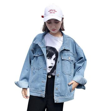 Hot crop Tops Autumn coat women's bts loose wild light blue jeans clothing Harajuku casual short bomber jacket tooling XL