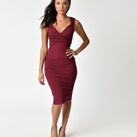 Steady 1950s Wine Red Stretch Verona Diva Cocktail Wiggle Dress
