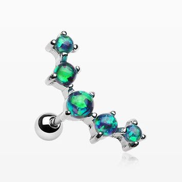 Fire Opal Sparkle Prong Journey Cartilage Tragus Barbell