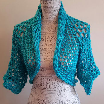 Crochet bright blue Shrug. Bolero. Made by Bead Gs on ETSY. ladies Size Medium. Summer top. Tank top Cover.