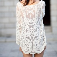 FRESH LACE FLOWER LONG SLEEVE TOP