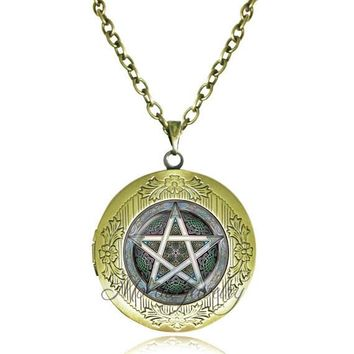 Fashion copper locket choker necklace Wiccan necklaces Supernatural necklace charm Pentagram Pendant Occult Jewelry bijoux