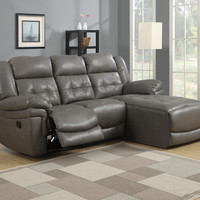 Sofa Lounger - Reclining - Grey Bonded Leather - Match