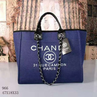 CHANEL Women Shopping Leather Metal Chain Crossbody Satchel Shoulder Bag Blue