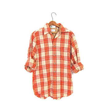Plaid Wool Flannel 50s Red Cream Grunge Boyfriend Button Up Long Sleeve 1950s Preppy Boho Tomboy Chore Shirt Small Medium