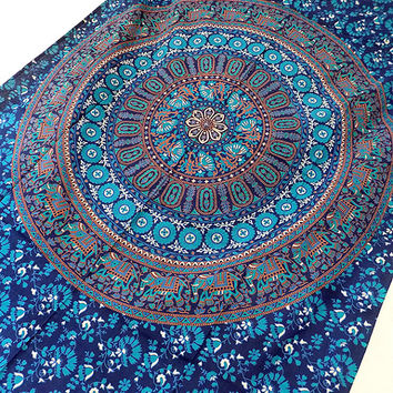 BLUE mandala cotton hippie wall hanging tapestry boho bohemian bedding throw ethnic wall decor home decorative art