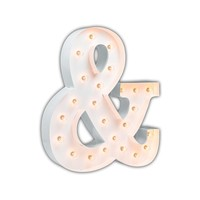 "24"" Ampersand ""&"" Vintage Marquee Lights Sign (White Gloss)"