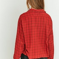 Urban Renewal Vintage Customised Cropped Red Flannel Top - Urban Outfitters