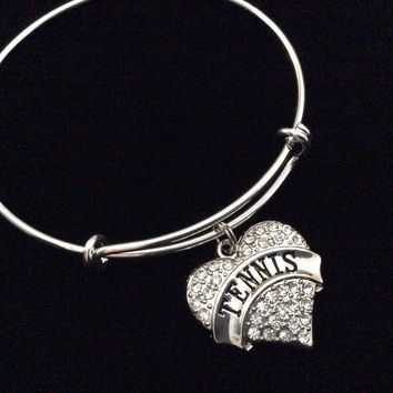 Crystal Tennis Heart Expandable Adjustable Wire Bangle Bracelet Trendy Stacking Team Sport Coach Gift