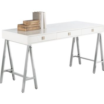 EMBRACE DISTRESSED OAK VENEER IN A HIGH GLOSS WHITE FINISH TRESTLE STYLE STAINLESS STEEL BASE DESK