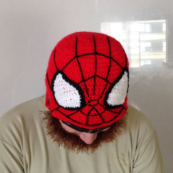 Crochet spiderman hat with brown beard, spiderman inspired hat in any size you like.