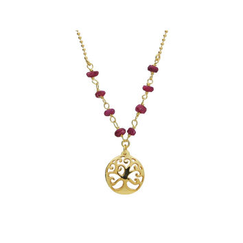 """Silver Gold Plated 16""""+ 2"""" Necklace Ruby Beads and tree of Life Pendant"""