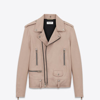 SAINT LAURENT CLASSIC MOTORCYCLE JACKET IN POWDER PINK WASHED LEATHER | YSL.COM