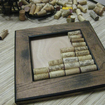 DIY Wine Cork Bulletin Board Kit - made from reclaimed wood - brown