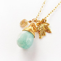 Amazonite necklace. gold necklace, drop pendant, gold jewelry, 14k gold fill, leaf necklce, seafoam blue stone, mint, bridesmaid necklcae.