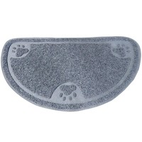 Evelots Premium Anti-Tracking Half Moon Food / Litter Mat, Soft Non Skid Pet Rug
