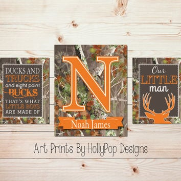 Hunting Nursery Wall Art Mossy Orange Baby Boy Nursery Art Ducks and Trucks Little Boys Monogram Name Print Deer Nursery Art Prints #1254