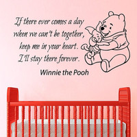 Wall Decals Vinyl Decal Sticker Interior Design Mural Winnie The Pooh Quote Keep Me In Your Heart Girl Boy Kids Nursery Baby Room Decor KT95