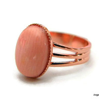 Pink Coral Ring Natural Stone Ring 10x14mm Copper Plated Adjustable Ring  FREE SHIPPING