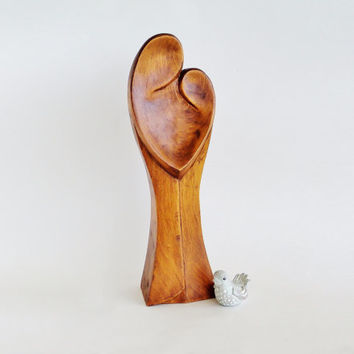 Minimalist Wood Mother and Child Sculpture