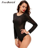 Free Ostrich Bodysuit Women Sexy Solid Skinny 2017 Party Club Wear Mesh See Through Bodycon O Neck Long Sleeve Short Rompers