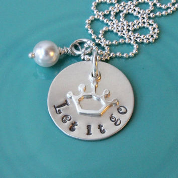 Let it go necklace sterling silver hand stamped royal crown princess queen pendant gift for girl friend handstamped Swarovski pearl