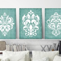 DAMASK BATHROOM Wall Art, CANVAS or Prints, Aqua Bathroom Pictures, Aqua Bedroom Decor, French Country Design, Set of 3 Home Decor Pictures