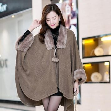 Cape Coat Knit Cardigan Jacket Sweater Women Oversized Coats Poncho Plus Size Long Overcoat Fur Collar Maxi Coats Cardigan C2276