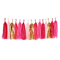 Tissue Paper Tassel Garland Fringe in pink and gold foil colors -Party birthday wedding room decor
