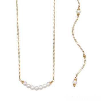 Backdrop Gold and Pearl Necklace