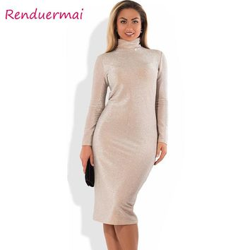 Winter Christmas Dress Sparkly Bandage Bodycon Dress 2017 Plus Size Party Dress Long Sleeve Turtleneck Women Clothing Vestido