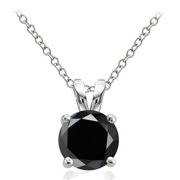 925 Sterling Silver 2.75ct Black Cubic Zirconia 9mm Round Solitaire Necklace