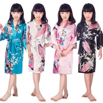 ESBON New Kid Silk floral Robe Kimono Robes Bridesmaid Flower Girl Dress Children Bathrobe Sleepwear Baby Clothes Dressing Gown