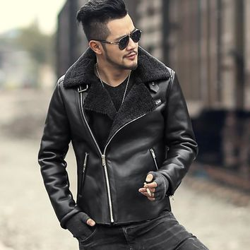 Trendy 2018 Men slim woolen black fur collar motorcycle bikers faux leather jacket coat metrosexual man warm casual new design jacket AT_94_13