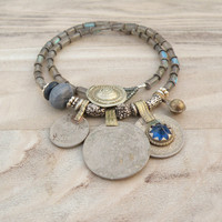 Nomadic Talisman Necklace - Tribal Gypsy, Coin Jewelry, Belly Dance, Labradorite and Lapiz