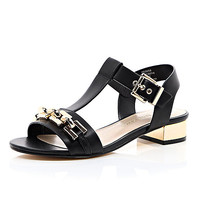 River Island Womens Black leather-look chain front sandals